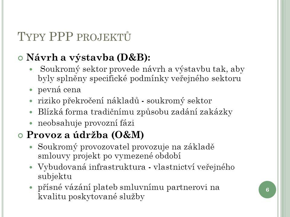 T YPY PPP PROJEKTŮ Návrh a výstavba (D&B): Soukromý sektor provede návrh a výstavbu tak, aby byly splněny specifické podmínky veřejného sektoru pevná cena riziko překročení nákladů - soukromý sektor Blízká forma tradičnímu způsobu zadání zakázky neobsahuje provozní fázi Provoz a údržba (O&M) Soukromý provozovatel provozuje na základě smlouvy projekt po vymezené období Vybudovaná infrastruktura - vlastnictví veřejného subjektu přísné vázání plateb smluvnímu partnerovi na kvalitu poskytované služby 6