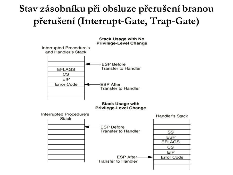 """Výjimky Předdefinované vektory (z intervalu 0..31) Klasifikace: –hlášení (traps): hlášení o stavu programu - hlášeny po instrukci, která je způsobila; po vyhodnocení možné pokračování na následující instrukci –chyby (faults): """"opravitelné chyby - hlášeny před instrukcí, která je způsobila; obvykle principiálně možný restart instrukce po odstranění příčiny chyby –bubáci (aborts): """"neopravitelné fatální chyby - obvykle nelze určit přesnou instrukci, která je způsobila; znamenají HW chybu nebo závažnou nekonsistenci systémových tabulek a nepředpokládá se pokračování přerušeného programu"""