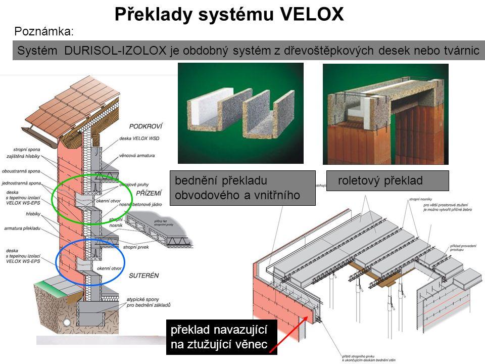 Překlady systému VELOX roletový překlad překlad navazující na ztužující věnec bednění překladu obvodového a vnitřního Systém DURISOL-IZOLOX je obdobný systém z dřevoštěpkových desek nebo tvárnic Poznámka: