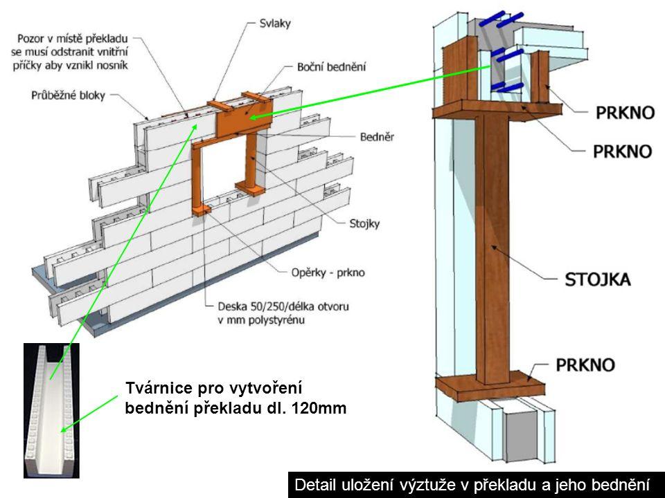 Detail uložení výztuže v překladu a jeho bednění Tvárnice pro vytvoření bednění překladu dl. 120mm