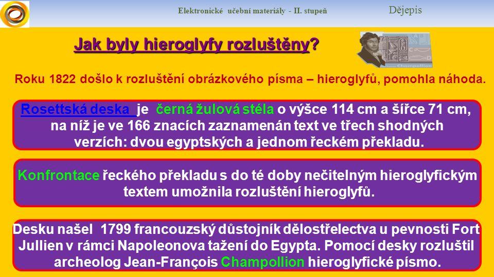 Elektronické učební materiály - II. stupeň Dějepis Jak byly hieroglyfy rozluštěny.