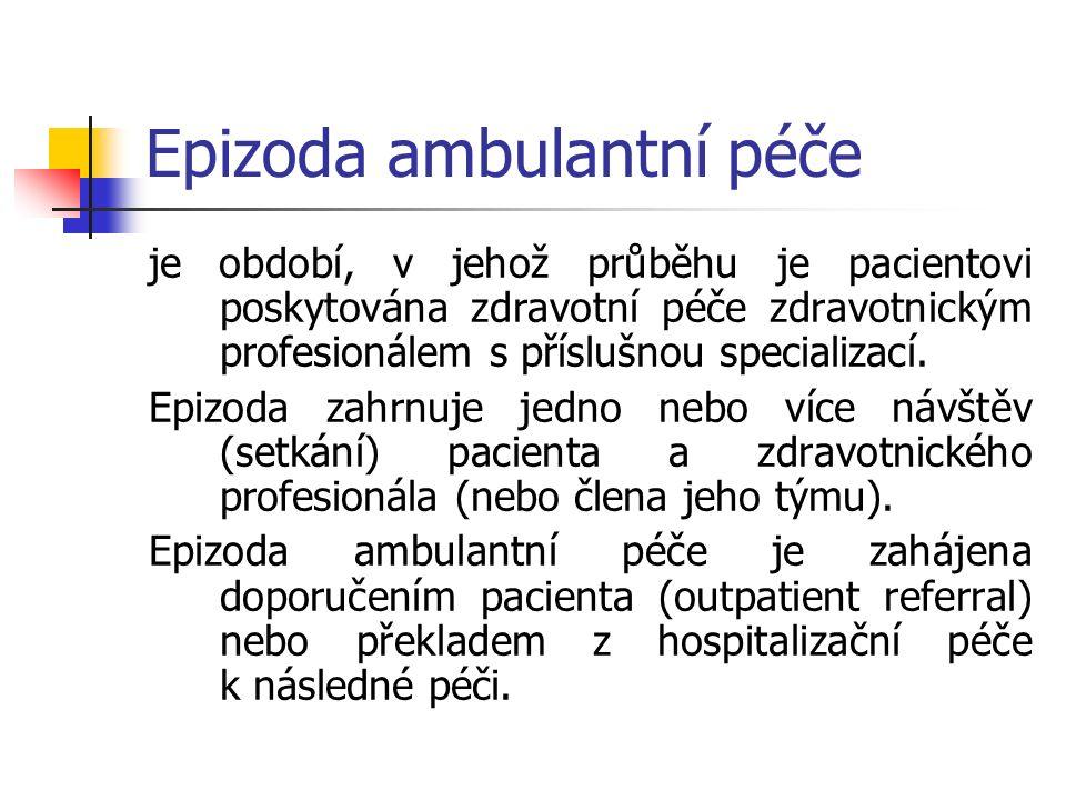 Epizoda ambulantní péče je období, v jehož průběhu je pacientovi poskytována zdravotní péče zdravotnickým profesionálem s příslušnou specializací.