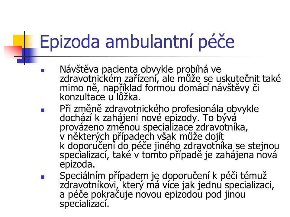 Epizoda ambulantní péče Návštěva pacienta obvykle probíhá ve zdravotnickém zařízení, ale může se uskutečnit také mimo ně, například formou domácí návštěvy či konzultace u lůžka.