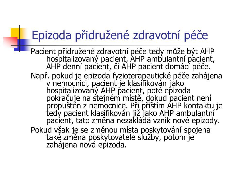 Epizoda přidružené zdravotní péče Pacient přidružené zdravotní péče tedy může být AHP hospitalizovaný pacient, AHP ambulantní pacient, AHP denní pacient, či AHP pacient domácí péče.