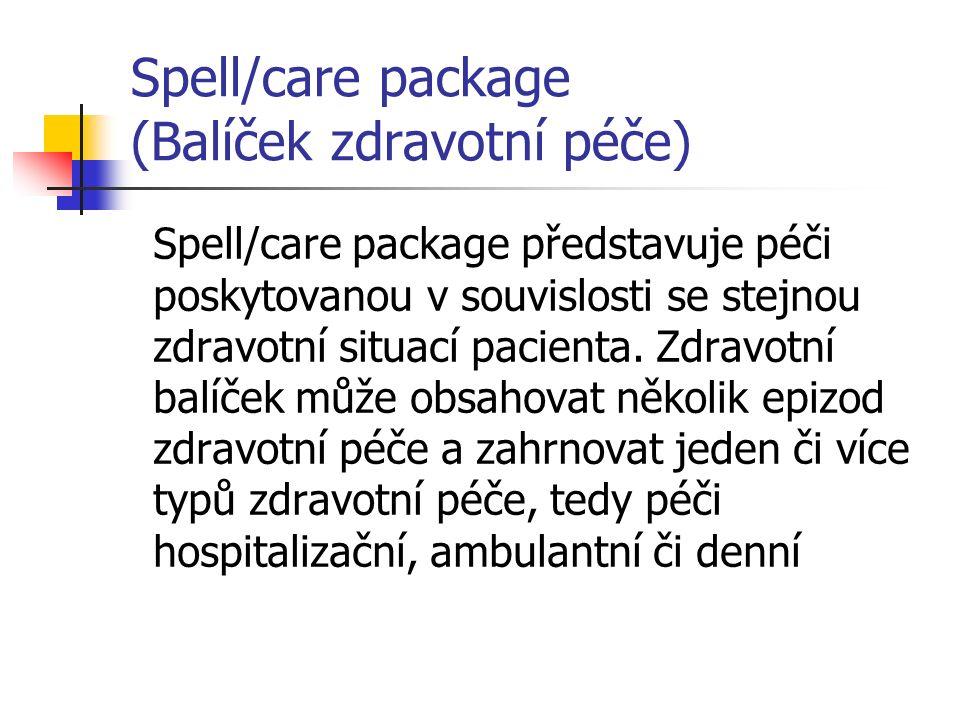 Spell/care package (Balíček zdravotní péče) Spell/care package představuje péči poskytovanou v souvislosti se stejnou zdravotní situací pacienta.