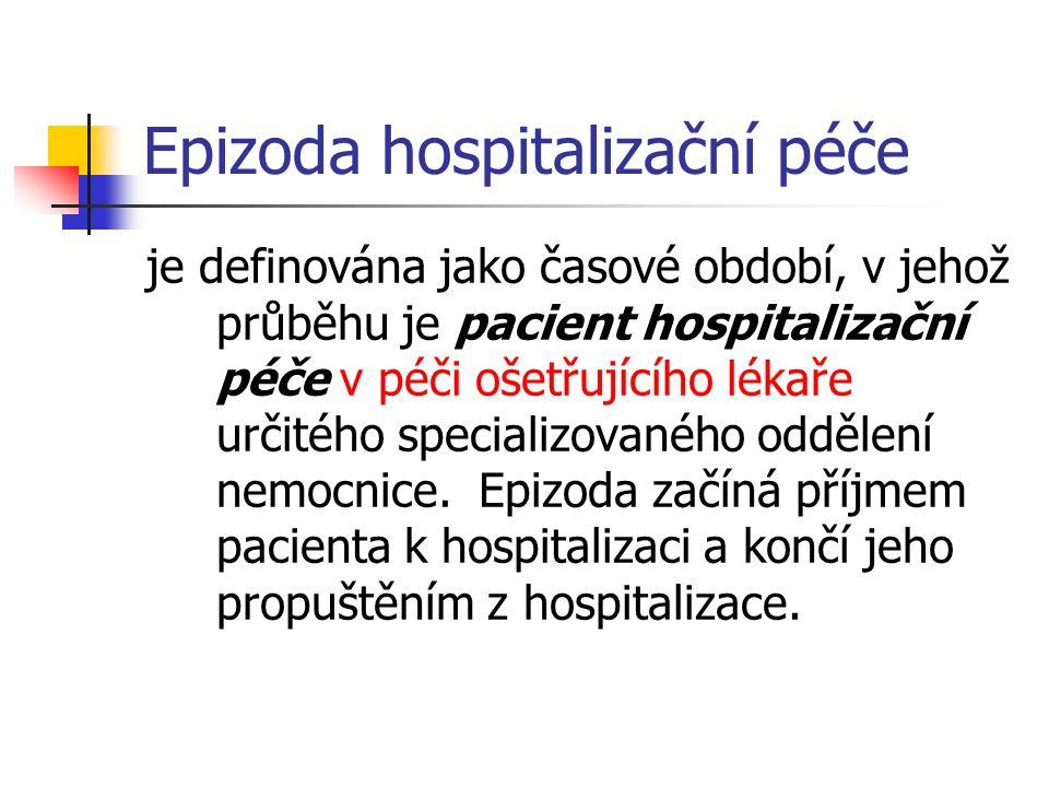 Epizoda hospitalizační péče je definována jako časové období, v jehož průběhu je pacient hospitalizační péče v péči ošetřujícího lékaře určitého specializovaného oddělení nemocnice.