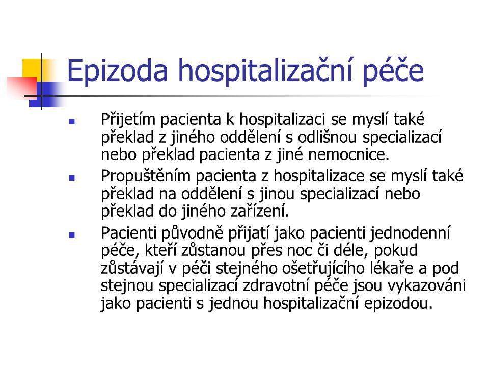 Epizoda hospitalizační péče Přijetím pacienta k hospitalizaci se myslí také překlad z jiného oddělení s odlišnou specializací nebo překlad pacienta z jiné nemocnice.