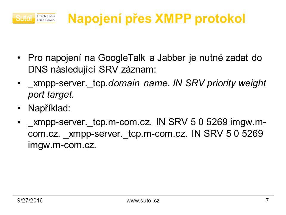 9/27/2016www.sutol.cz7 Napojení přes XMPP protokol Pro napojení na GoogleTalk a Jabber je nutné zadat do DNS následující SRV záznam: _xmpp-server._tcp.domain name.