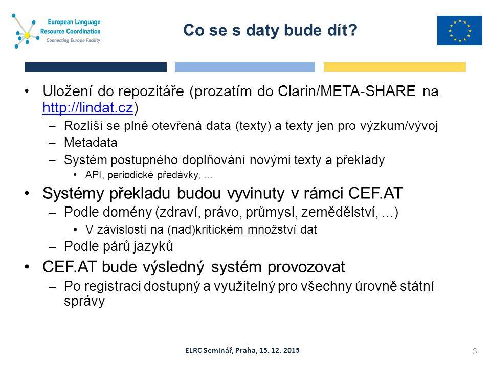 ELRC Seminář, Praha, 15. 12. 2015 Uložení do repozitáře (prozatím do Clarin/META-SHARE na http://lindat.cz) http://lindat.cz –Rozliší se plně otevřená