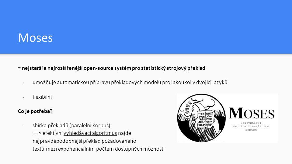 Komerční yužití - komerční využití Moses – TAUS - hojně využíván jako základ pro reálné překladové systémy - Lets MT, Moses for Mere Mortals – usnadnění vytvoření vlastního MT systému - computer-aided translation - malé paměťové nároky – v budoucnu pro mobilní zařízení?