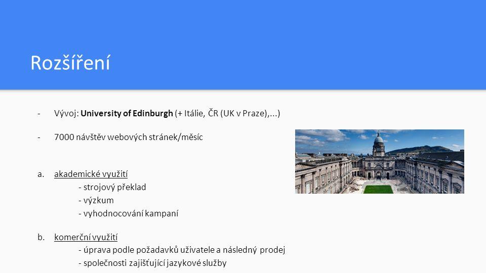 Rozšíření -Vývoj: University of Edinburgh (+ Itálie, ČR (UK v Praze),...) -7000 návštěv webových stránek/měsíc a.akademické využití - strojový překlad