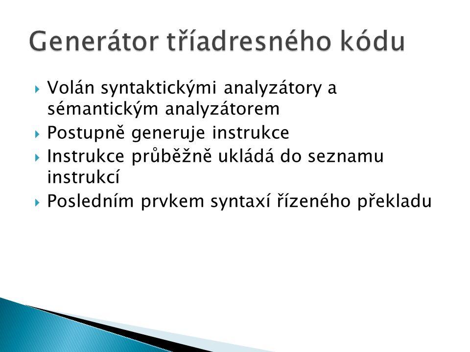  Volán syntaktickými analyzátory a sémantickým analyzátorem  Postupně generuje instrukce  Instrukce průběžně ukládá do seznamu instrukcí  Posledním prvkem syntaxí řízeného překladu