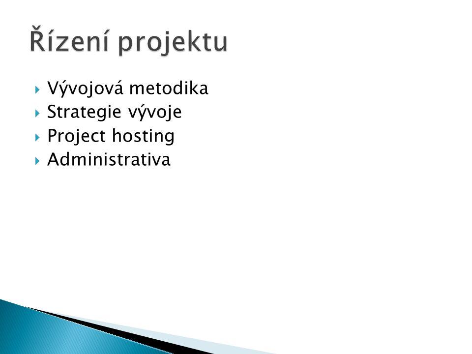  Vývojová metodika  Strategie vývoje  Project hosting  Administrativa