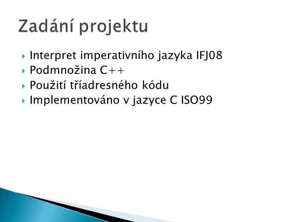  Interpret imperativního jazyka IFJ08  Podmnožina C++  Použití tříadresného kódu  Implementováno v jazyce C ISO99
