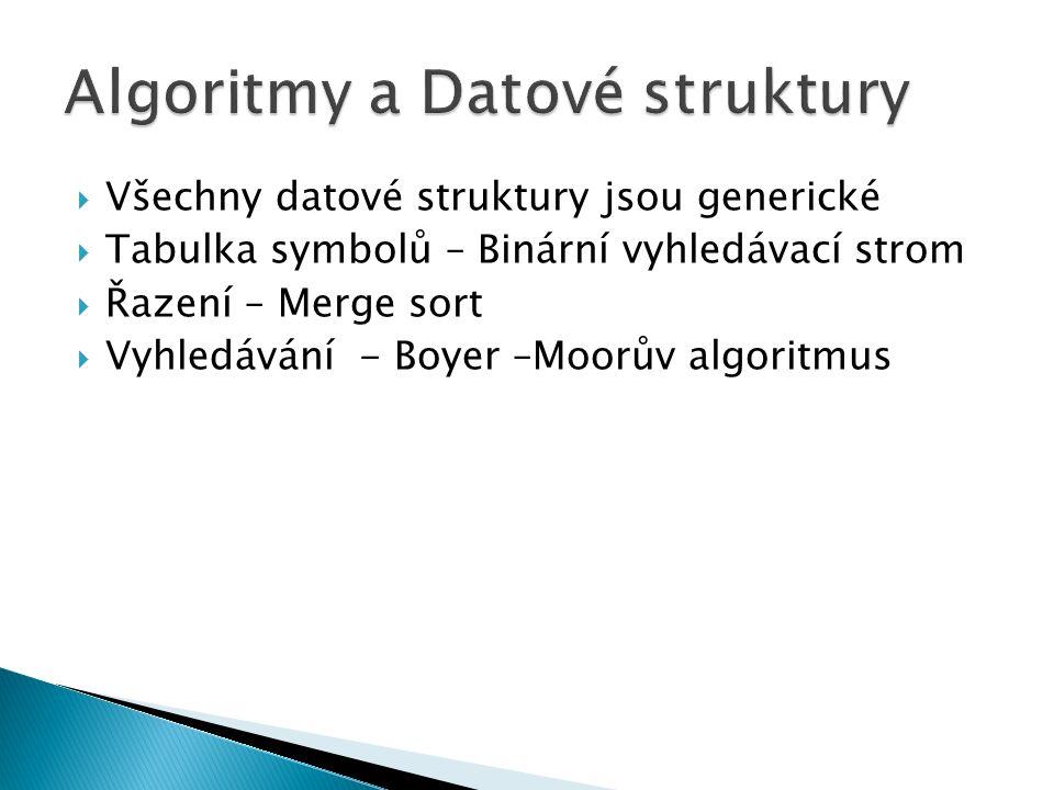  Všechny datové struktury jsou generické  Tabulka symbolů – Binární vyhledávací strom  Řazení – Merge sort  Vyhledávání - Boyer –Moorův algoritmus