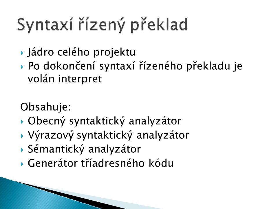  Jádro celého projektu  Po dokončení syntaxí řízeného překladu je volán interpret Obsahuje:  Obecný syntaktický analyzátor  Výrazový syntaktický analyzátor  Sémantický analyzátor  Generátor tříadresného kódu