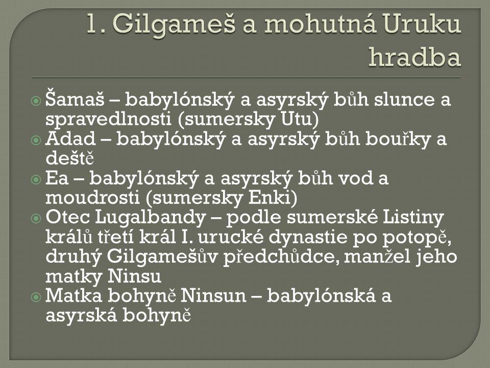 Jak se jmenovala Gilgamešova matka.