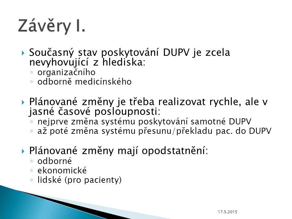  Současný stav poskytování DUPV je zcela nevyhovující z hlediska: ◦ organizačního ◦ odborně medicínského  Plánované změny je třeba realizovat rychle
