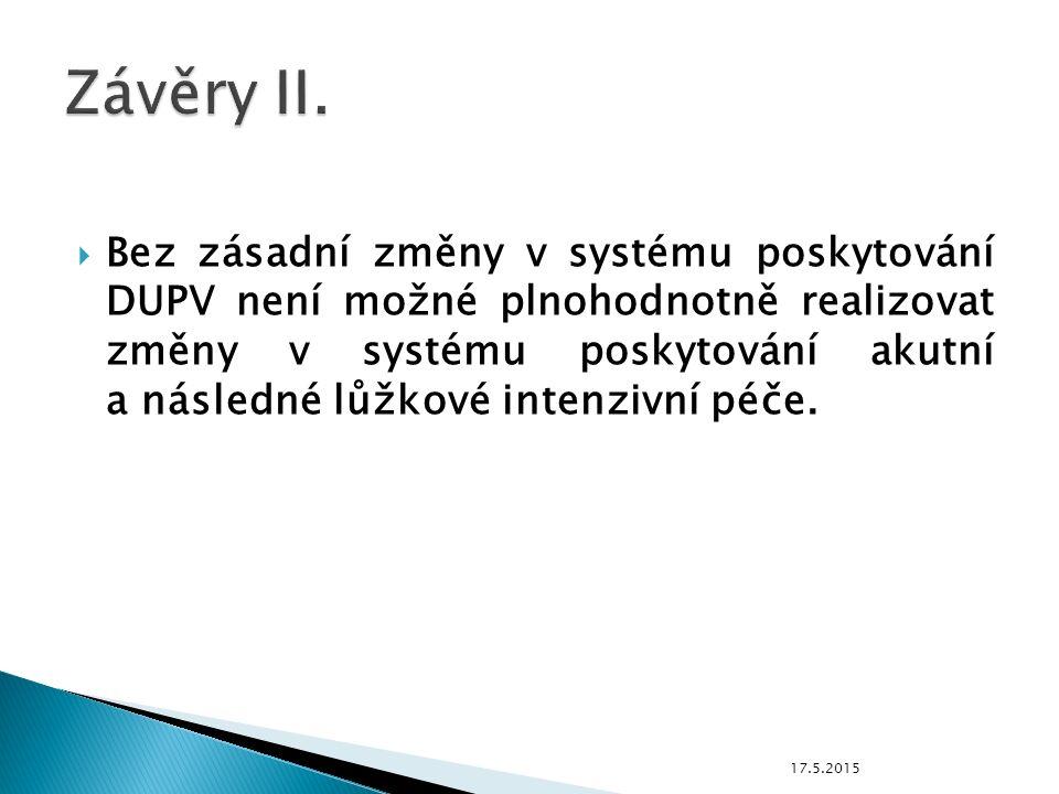  Bez zásadní změny v systému poskytování DUPV není možné plnohodnotně realizovat změny v systému poskytování akutní a následné lůžkové intenzivní péče.