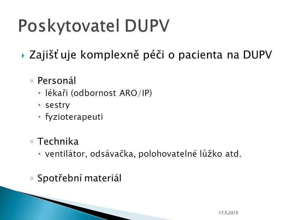  Zajišťuje komplexně péči o pacienta na DUPV ◦ Personál  lékaři (odbornost ARO/IP)  sestry  fyzioterapeuti ◦ Technika  ventilátor, odsávačka, polohovatelné lůžko atd.