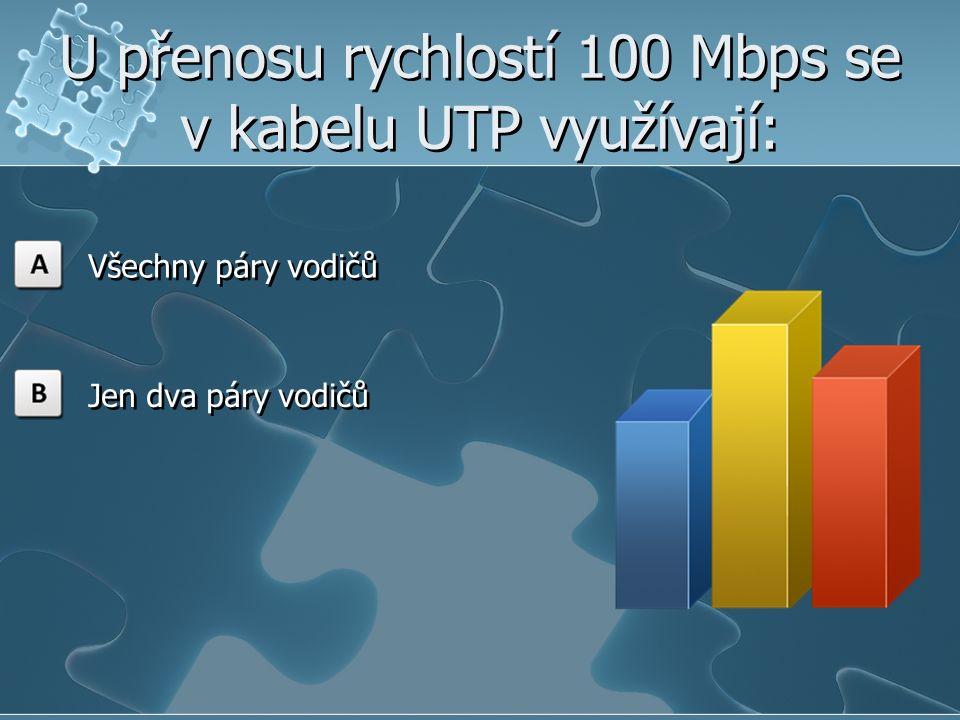 U přenosu rychlostí 100 Mbps se v kabelu UTP využívají: Všechny páry vodičů Jen dva páry vodičů