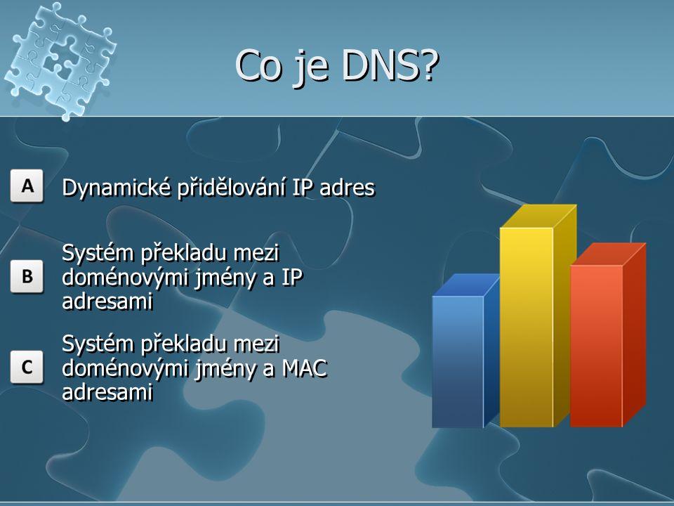 Co je DNS? Dynamické přidělování IP adres Systém překladu mezi doménovými jmény a IP adresami Systém překladu mezi doménovými jmény a MAC adresami