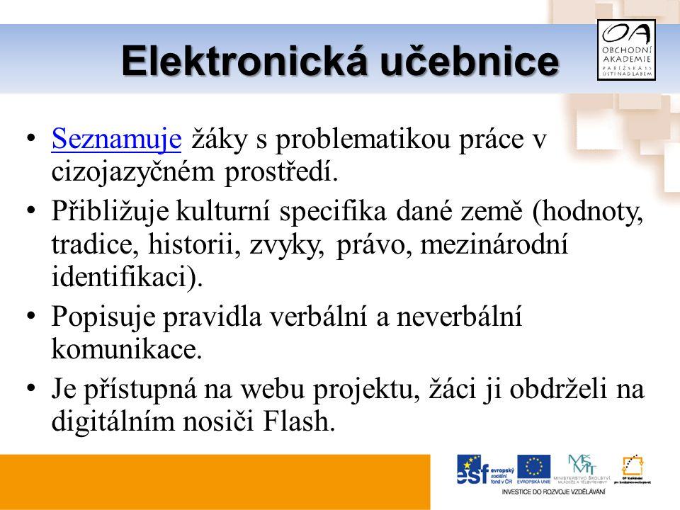Elektronická učebnice Seznamuje žáky s problematikou práce v cizojazyčném prostředí.