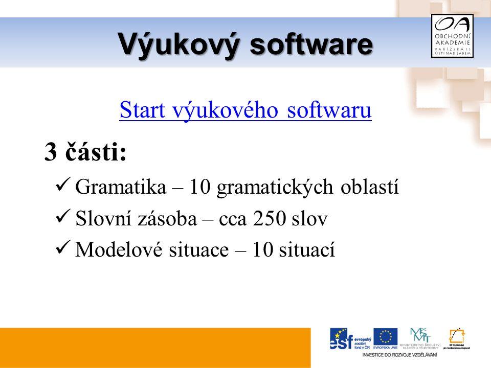Výukový software Start výukového softwaru 3 části: Gramatika – 10 gramatických oblastí Slovní zásoba – cca 250 slov Modelové situace – 10 situací