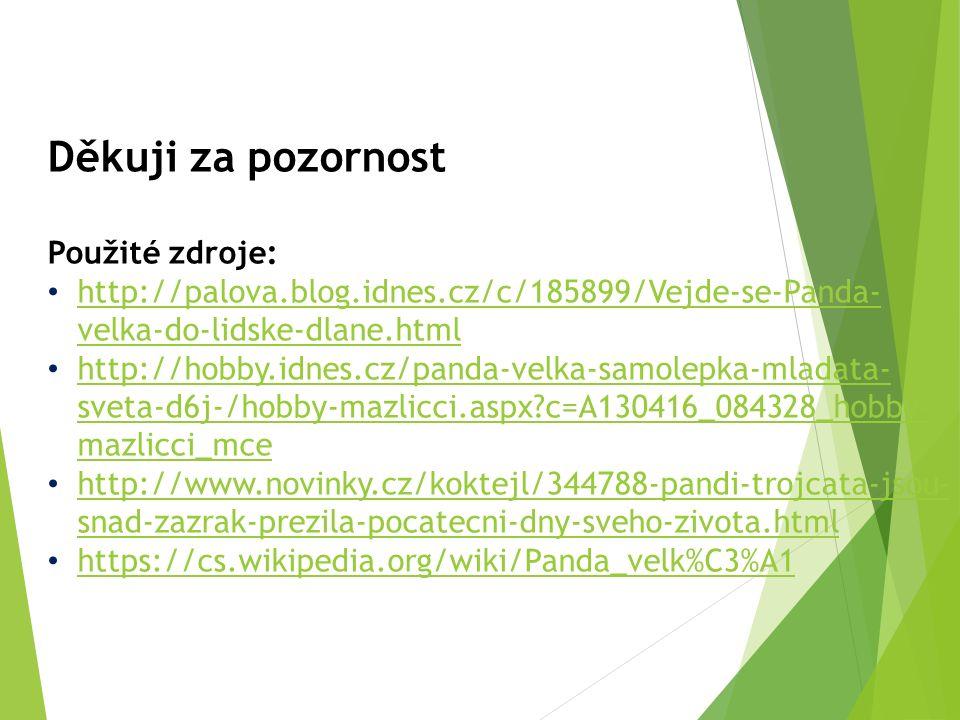 Děkuji za pozornost Použité zdroje: http://palova.blog.idnes.cz/c/185899/Vejde-se-Panda- velka-do-lidske-dlane.html http://palova.blog.idnes.cz/c/185899/Vejde-se-Panda- velka-do-lidske-dlane.html http://hobby.idnes.cz/panda-velka-samolepka-mladata- sveta-d6j-/hobby-mazlicci.aspx c=A130416_084328_hobby- mazlicci_mce http://hobby.idnes.cz/panda-velka-samolepka-mladata- sveta-d6j-/hobby-mazlicci.aspx c=A130416_084328_hobby- mazlicci_mce http://www.novinky.cz/koktejl/344788-pandi-trojcata-jsou- snad-zazrak-prezila-pocatecni-dny-sveho-zivota.html http://www.novinky.cz/koktejl/344788-pandi-trojcata-jsou- snad-zazrak-prezila-pocatecni-dny-sveho-zivota.html https://cs.wikipedia.org/wiki/Panda_velk%C3%A1