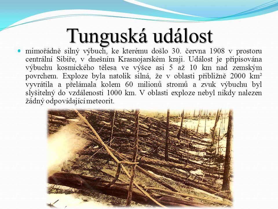 Tunguská událost mimořádně silný výbuch, ke kterému došlo 30. června 1908 v prostoru centrální Sibiře, v dnešním Krasnojarském kraji. Událost je připi