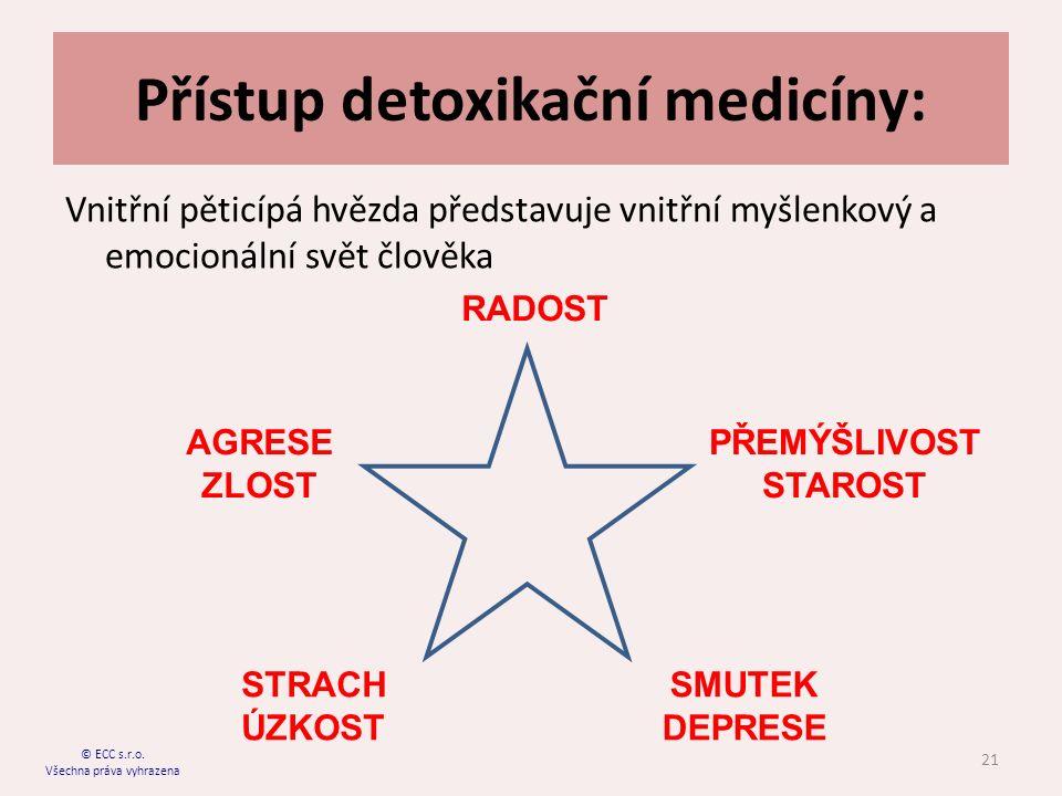 Přístup detoxikační medicíny: Vnitřní pěticípá hvězda představuje vnitřní myšlenkový a emocionální svět člověka 21 © ECC s.r.o.