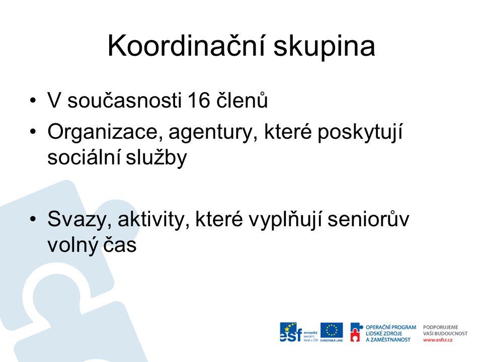 Koordinační skupina V současnosti 16 členů Organizace, agentury, které poskytují sociální služby Svazy, aktivity, které vyplňují seniorův volný čas