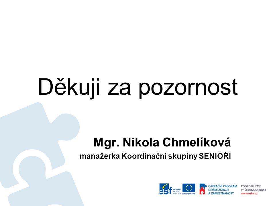 Děkuji za pozornost Mgr. Nikola Chmelíková manažerka Koordinační skupiny SENIOŘI