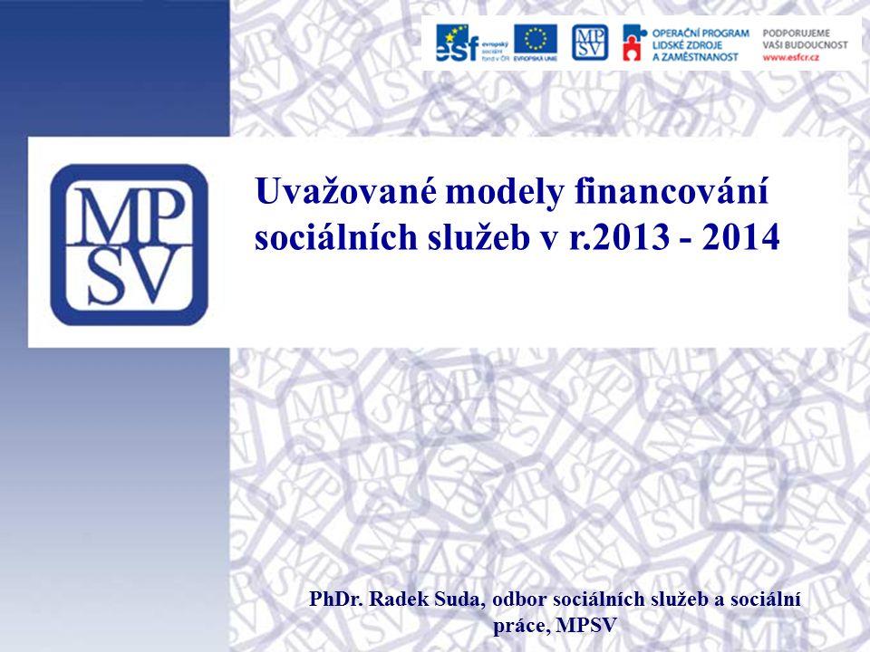 Uvažované modely financování sociálních služeb v r.2013 - 2014 PhDr.