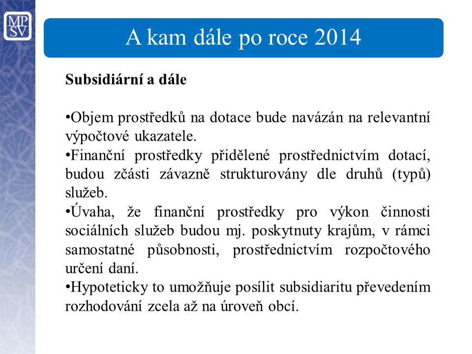 A kam dále po roce 2014 Subsidiární a dále Objem prostředků na dotace bude navázán na relevantní výpočtové ukazatele.