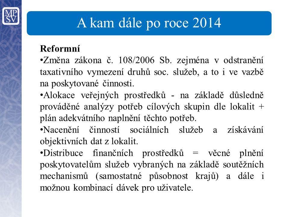 A kam dále po roce 2014 Reformní Změna zákona č. 108/2006 Sb.