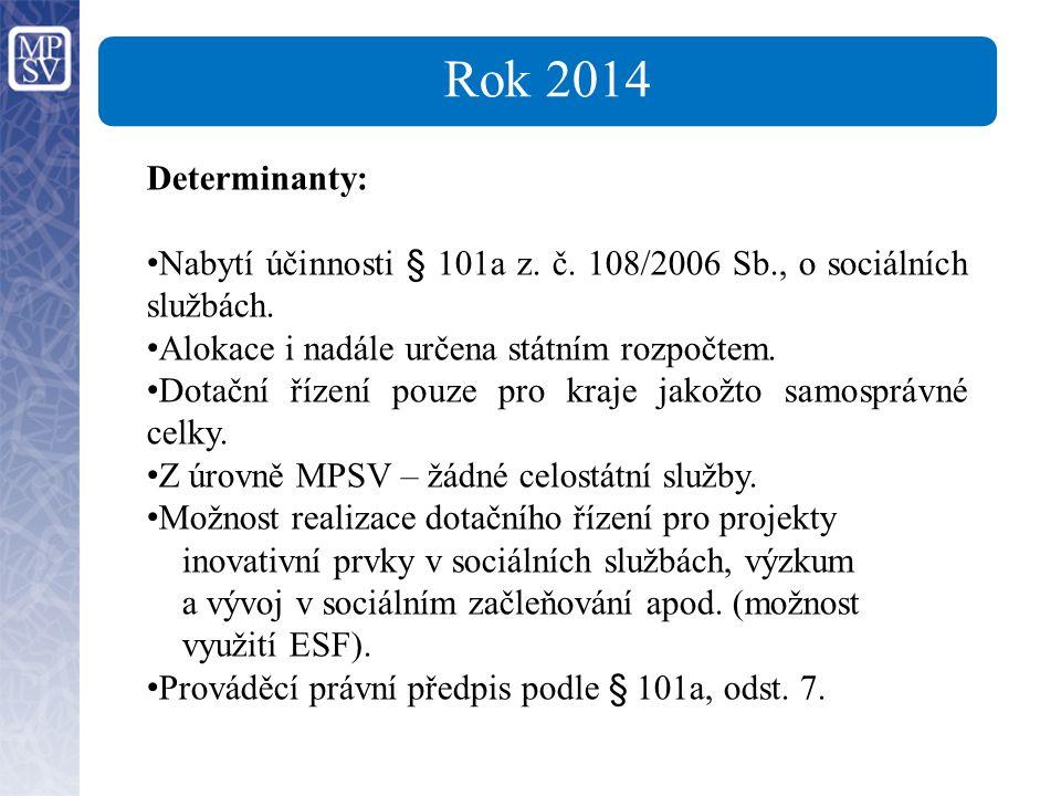Rok 2014 Determinanty: Nabytí účinnosti § 101a z. č.