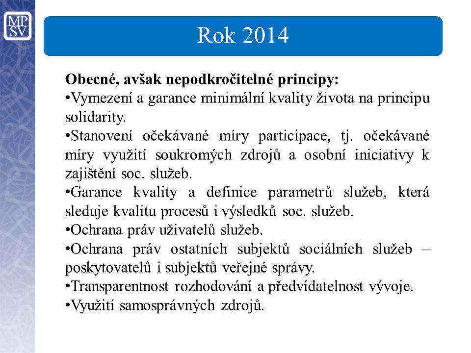 Rok 2014 Obecné, avšak nepodkročitelné principy: Vymezení a garance minimální kvality života na principu solidarity.
