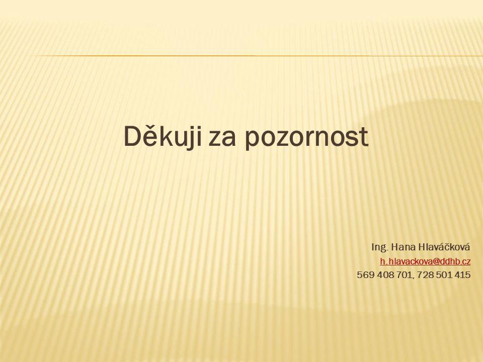 Děkuji za pozornost Ing. Hana Hlaváčková h.hlavackova@ddhb.cz 569 408 701, 728 501 415