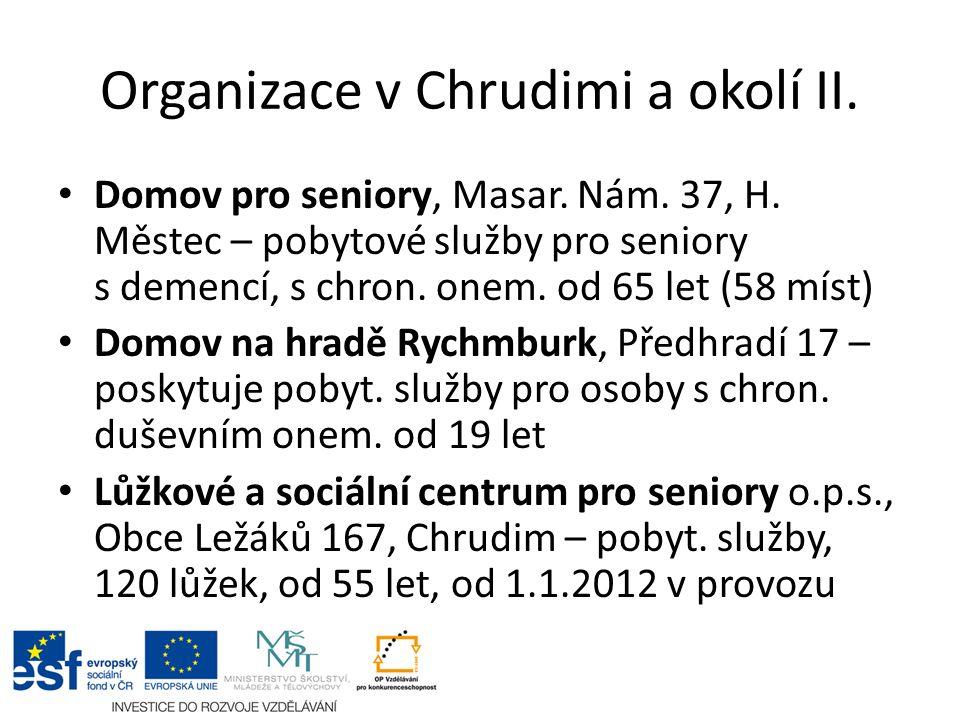 Organizace v Chrudimi a okolí II. Domov pro seniory, Masar.