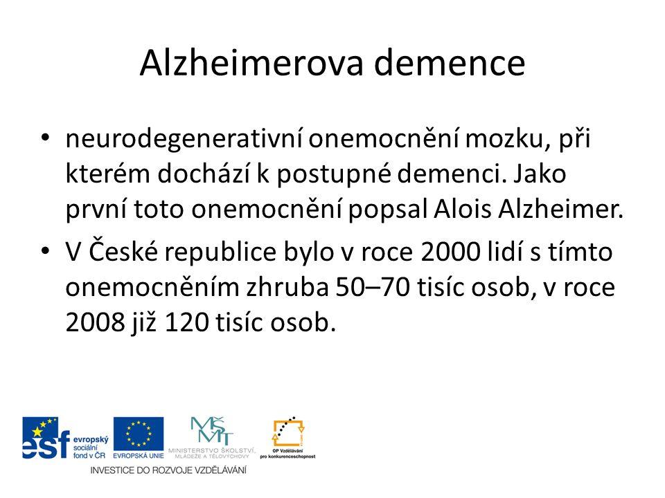 Alzheimerova demence neurodegenerativní onemocnění mozku, při kterém dochází k postupné demenci.
