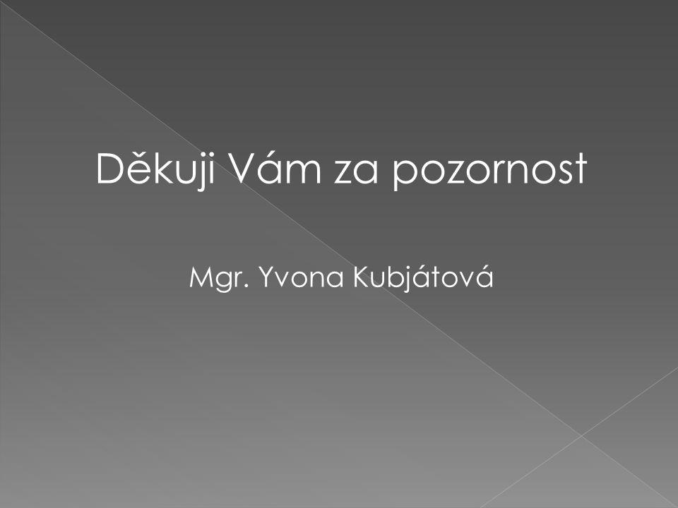 Děkuji Vám za pozornost Mgr. Yvona Kubjátová