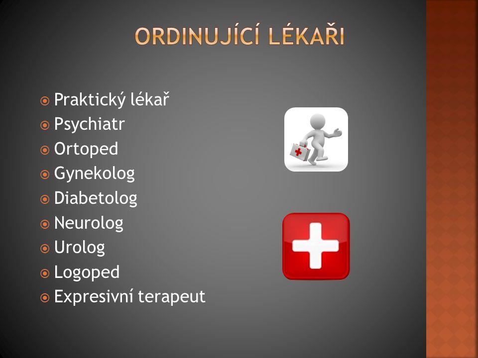  Praktický lékař  Psychiatr  Ortoped  Gynekolog  Diabetolog  Neurolog  Urolog  Logoped  Expresivní terapeut