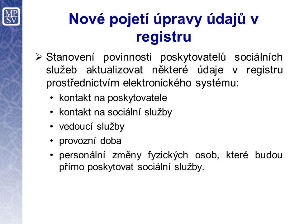 Nové pojetí úpravy údajů v registru  Stanovení povinnosti poskytovatelů sociálních služeb aktualizovat některé údaje v registru prostřednictvím elekt