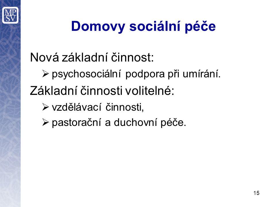 Domovy sociální péče Nová základní činnost:  psychosociální podpora při umírání. Základní činnosti volitelné:  vzdělávací činnosti,  pastorační a d