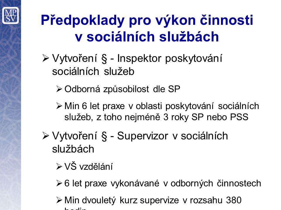 Předpoklady pro výkon činnosti v sociálních službách  Vytvoření § - Inspektor poskytování sociálních služeb  Odborná způsobilost dle SP  Min 6 let
