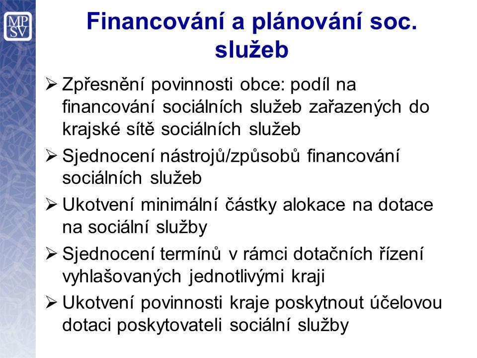 Financování a plánování soc. služeb  Zpřesnění povinnosti obce: podíl na financování sociálních služeb zařazených do krajské sítě sociálních služeb 