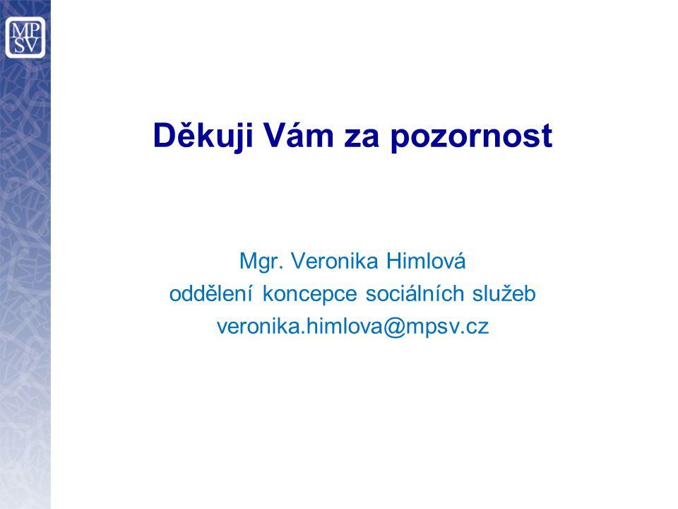 Děkuji Vám za pozornost Mgr. Veronika Himlová oddělení koncepce sociálních služeb veronika.himlova@mpsv.cz