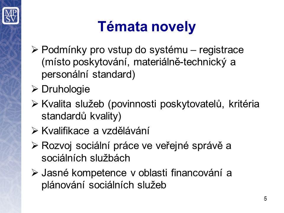 5 Témata novely  Podmínky pro vstup do systému – registrace (místo poskytování, materiálně-technický a personální standard)  Druhologie  Kvalita sl