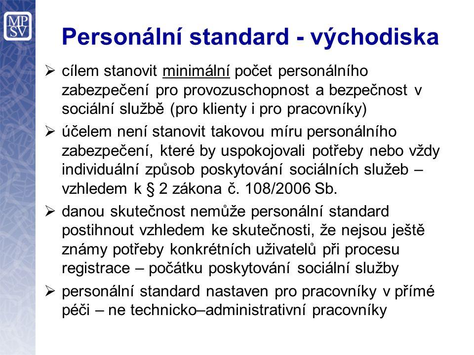Personální standard - východiska  cílem stanovit minimální počet personálního zabezpečení pro provozuschopnost a bezpečnost v sociální službě (pro kl